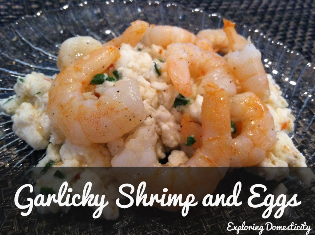 Garlicky Shrimp and Eggs