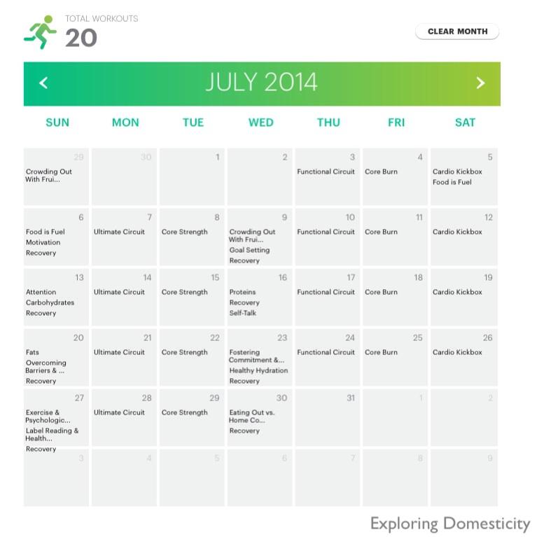 M5fitness calendar