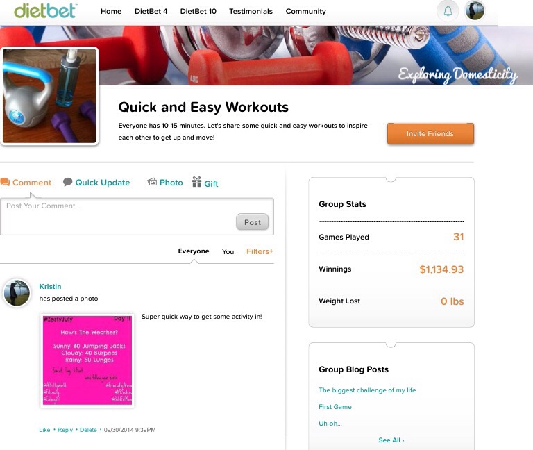 Quick and Easy Workouts DietBet Group