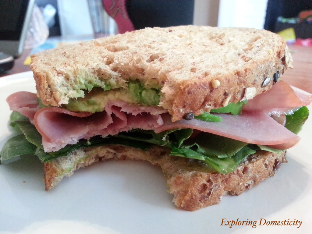 Thin-sliced Dave's Killer Bread sandwich with mashed avocado spread instead of mayo