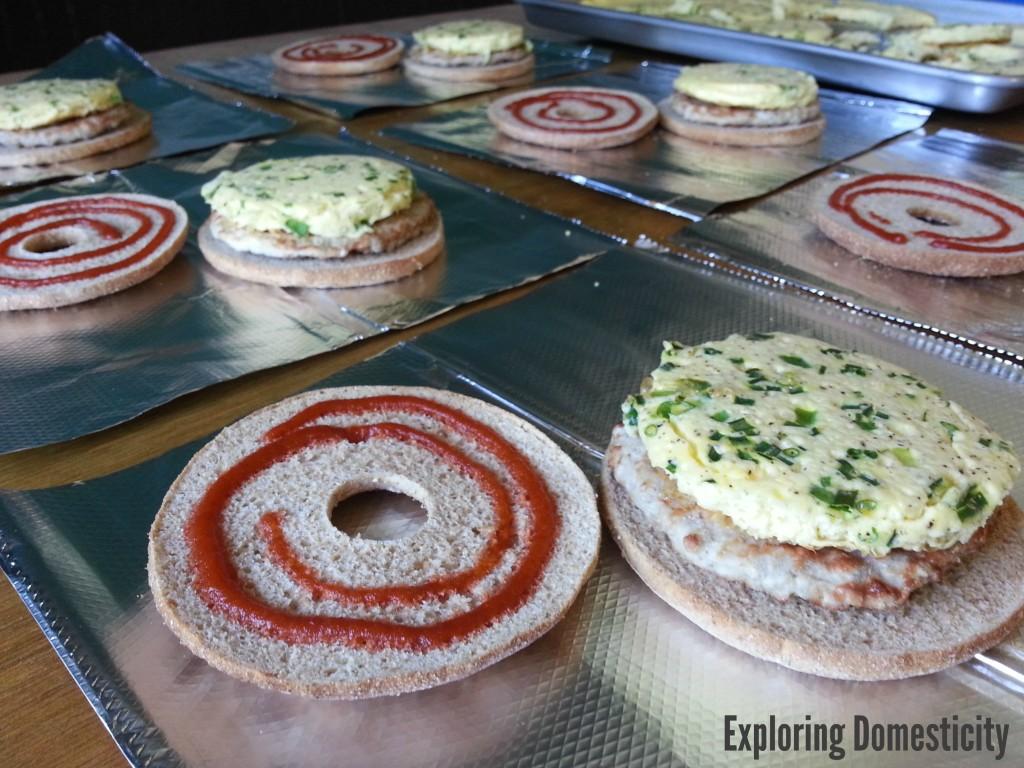 Frozen breakfast sandwich assembly