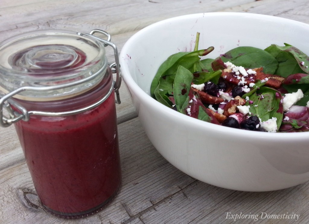 Blueberry Pecan Salad with Blueberry vinaigrette {3 Dishes with Wild Blueberries}
