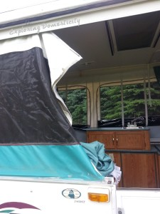 Pop up camper remodel - canvas stitching