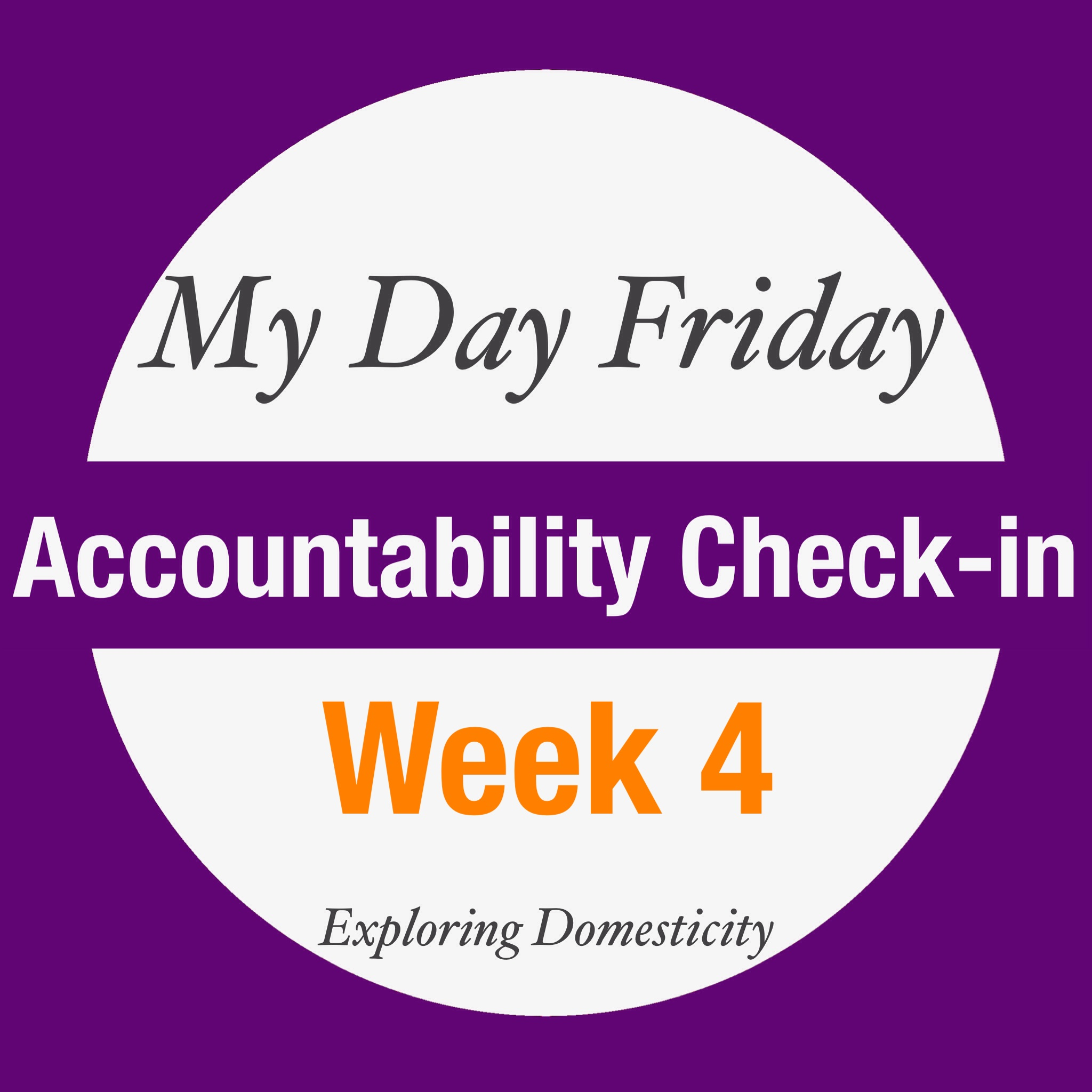 My Day Friday Accountability Check-in: week 4
