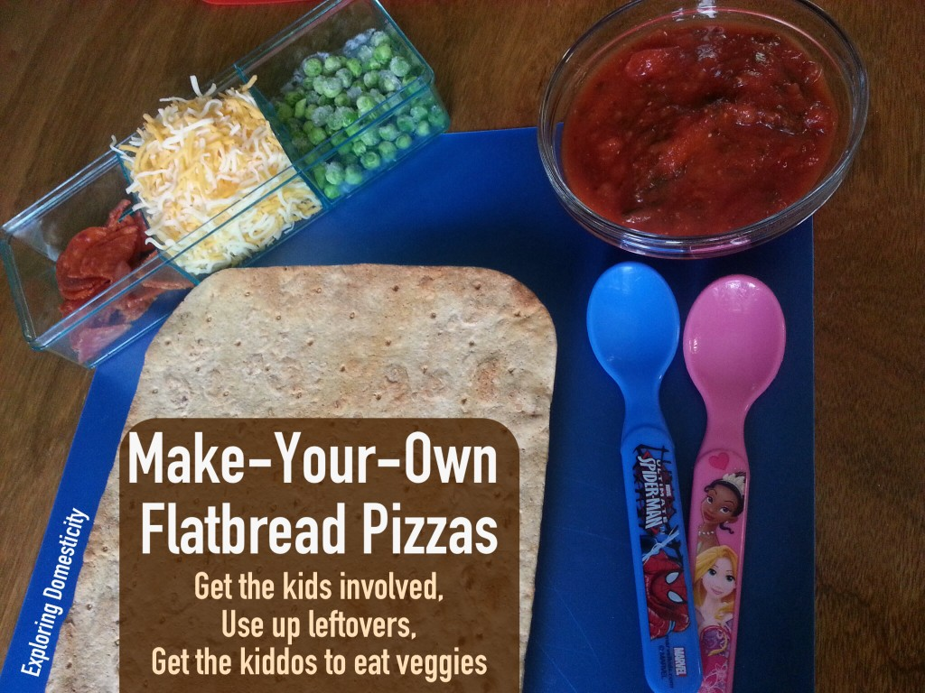 Make-your-own flatbread pizza: perfect for kiddos - keeps them busy, gets them to eat their veggies, and quick and easy way to use leftover or what you have on hand