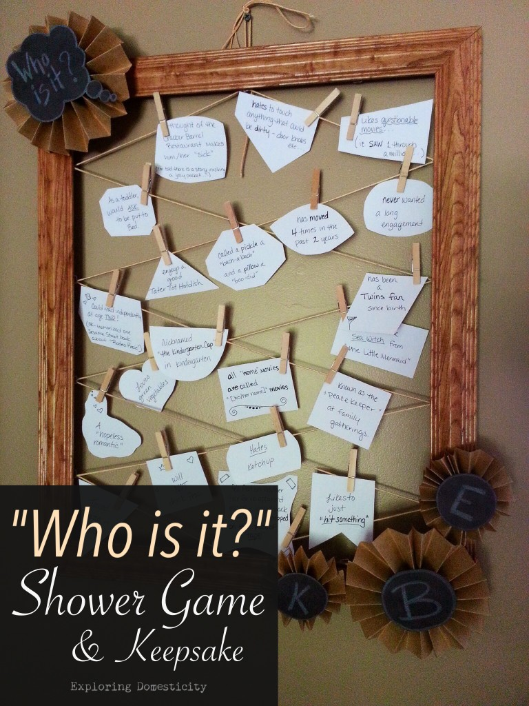 "How to make a ""Who is it?"" Shower Game, party decor, and keepsake"
