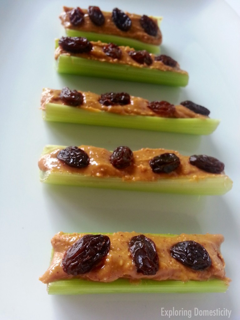 Simple Healthy Snacks to Satisfy Your Sweet Tooth: ants on a log
