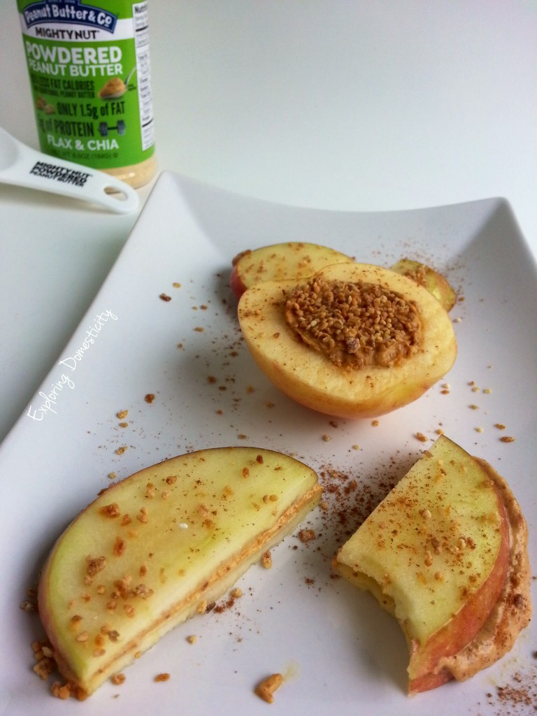 Health simple snack for apple season with mighty nut powdered peanut butter
