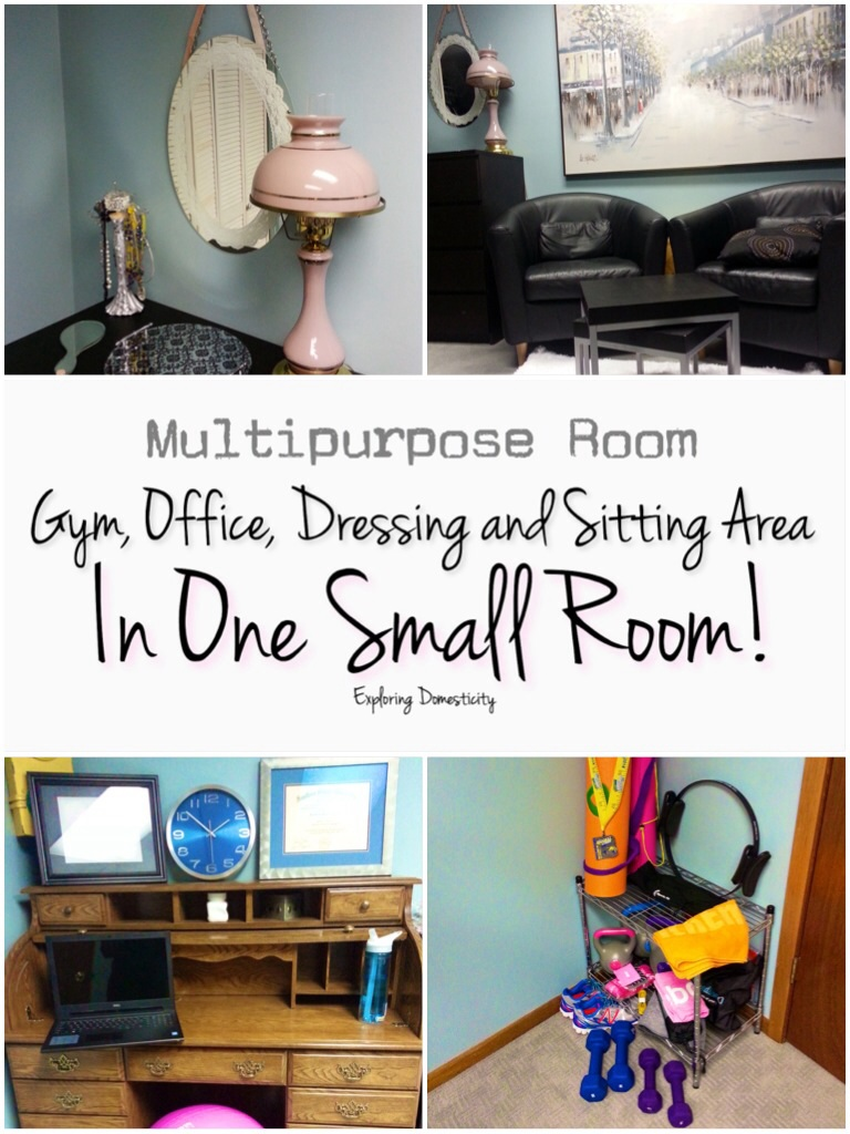 Multipurpose room: gym, office, dressing and sitting area in one small room!