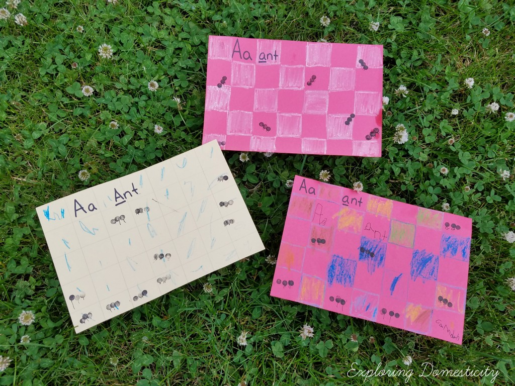 ABCs of Summer Ant Stamping kids