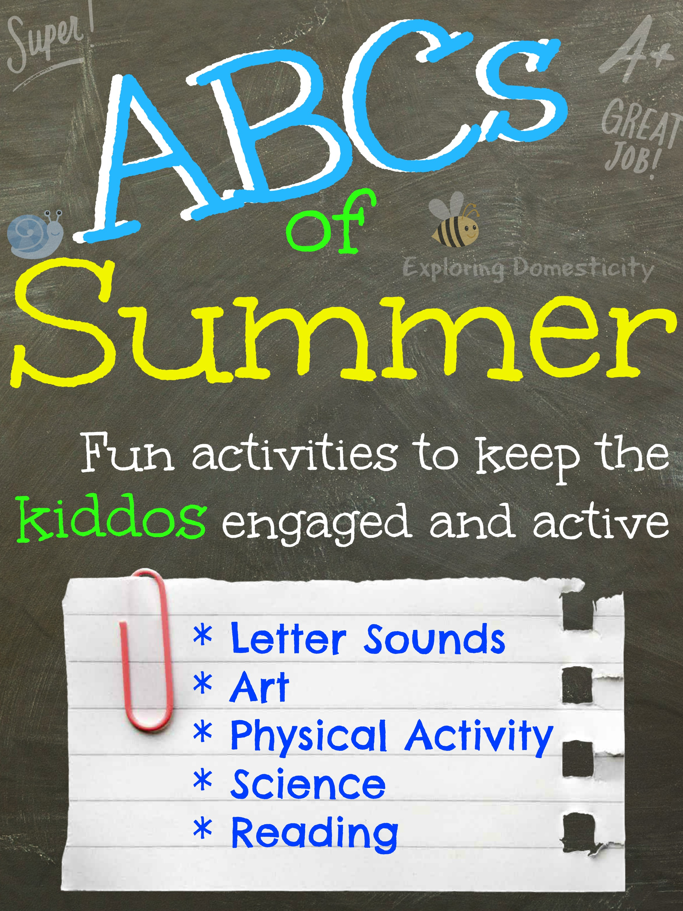 abcs of summer each day focuses on one letter of the alphabet with snacks - Dltk Preschool Activities