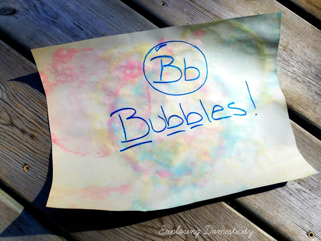 ABCs of Summer Art Activity: bubble painting - letter B