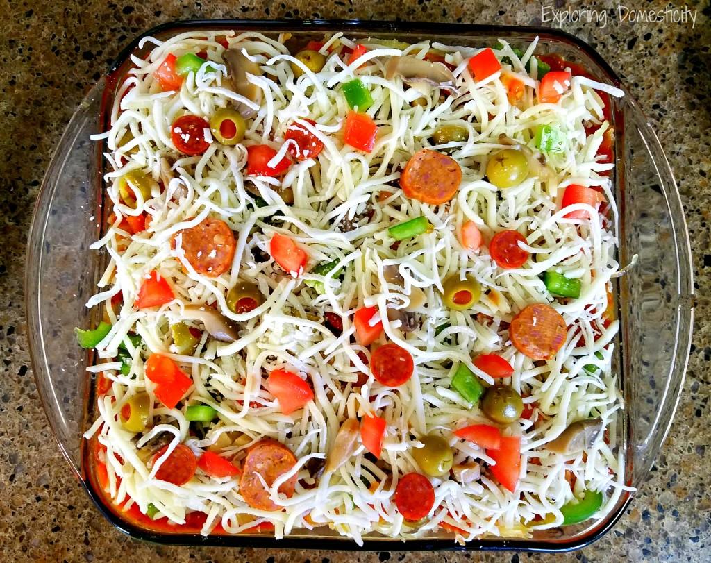 Spaghetti Squash Pizza Casserole / Hot Dish