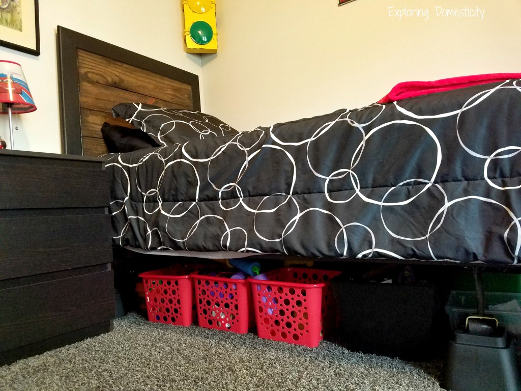 Route 66 Bedroom raised bed for toy storage