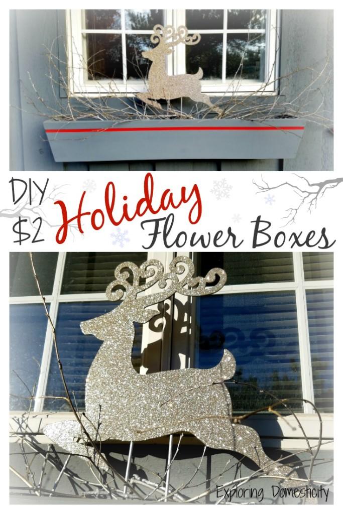 DIY $2 Christmas Flower Boxes