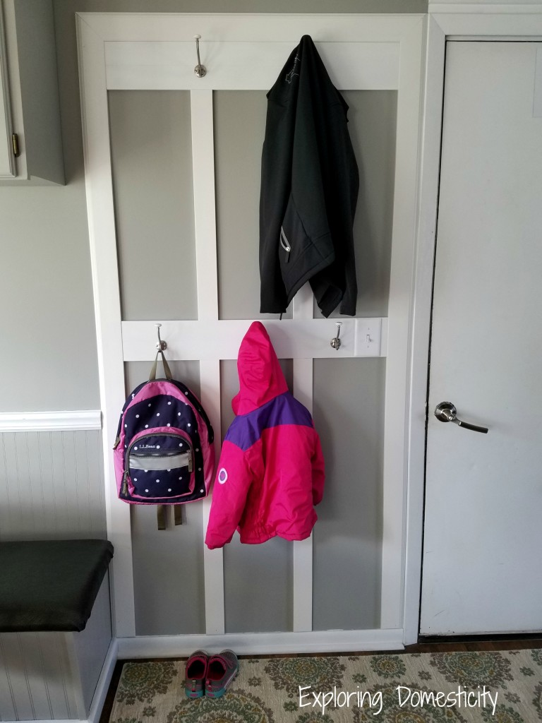 Small Entryway Transformation: using a small space to create a spot for jackets and backpacks