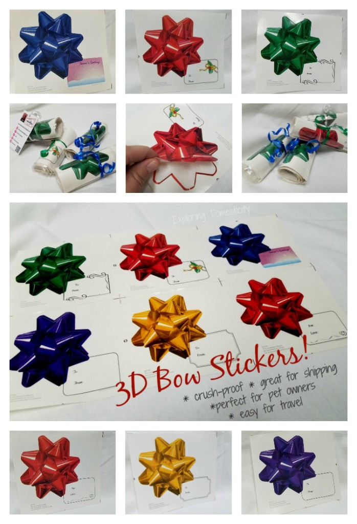 3D Bow Stickers for Gifts - stick to anything, won't crush, perfect for travel or shipping, and great for pet owners!