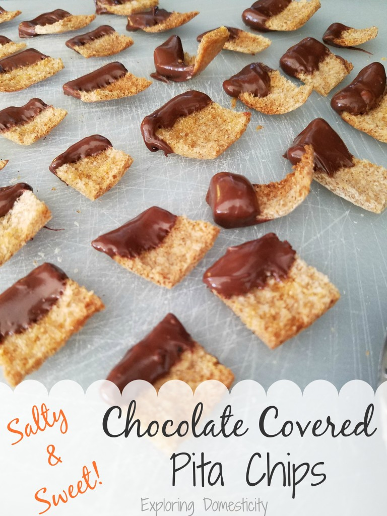 Chocolate Covered Pita Chips - a lighter sweet and salty snack