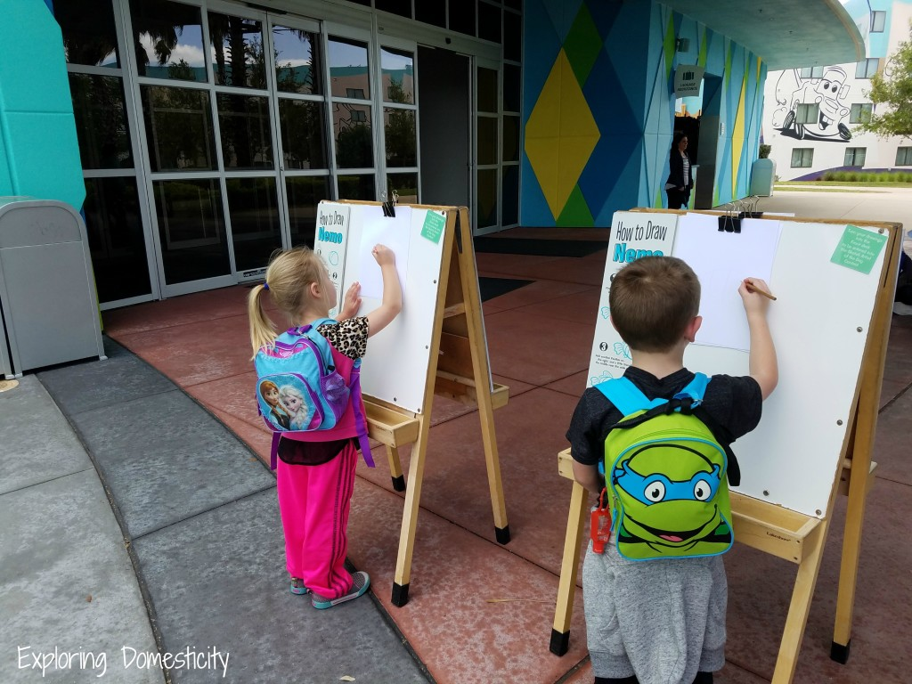 WDW Art of Animation Resort Games and Drawing Outside Lobby
