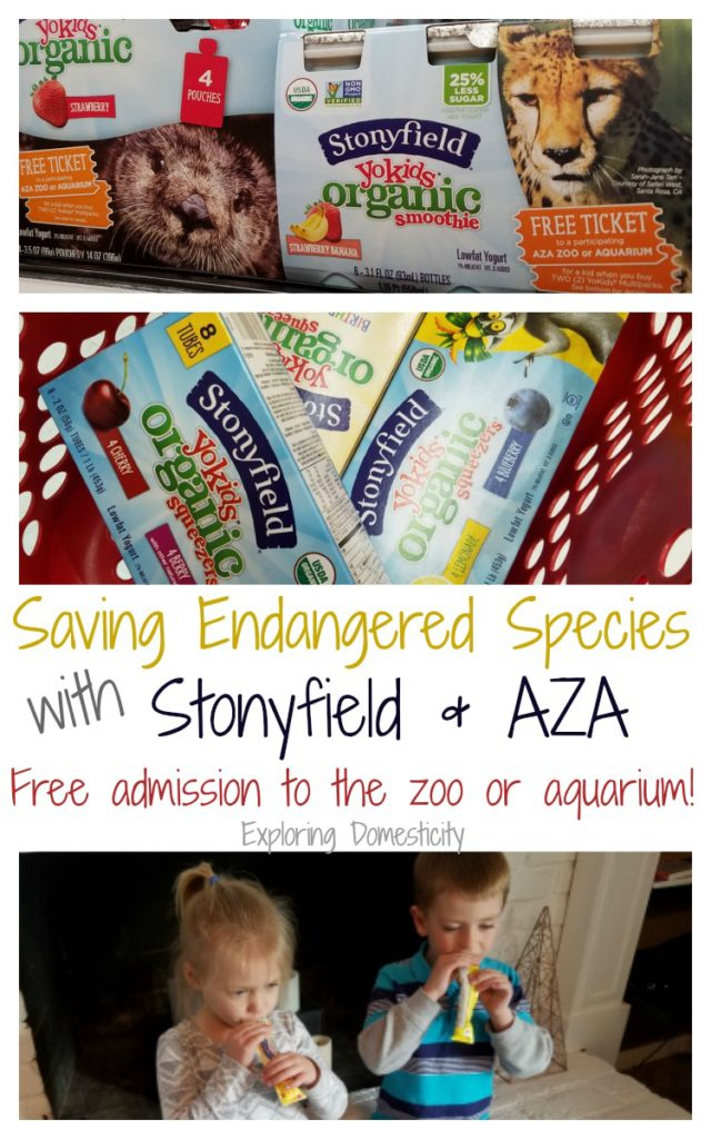 Stonyfield AZA Partnership: Saving endangered specials and helping foster a commitment to saving animals for young children. Free admission to the zoo or aquarium!