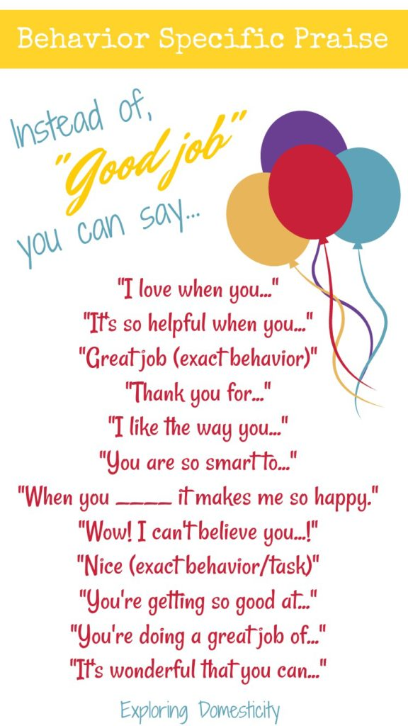 Behavior Specific Praise - things you can say instead of good job