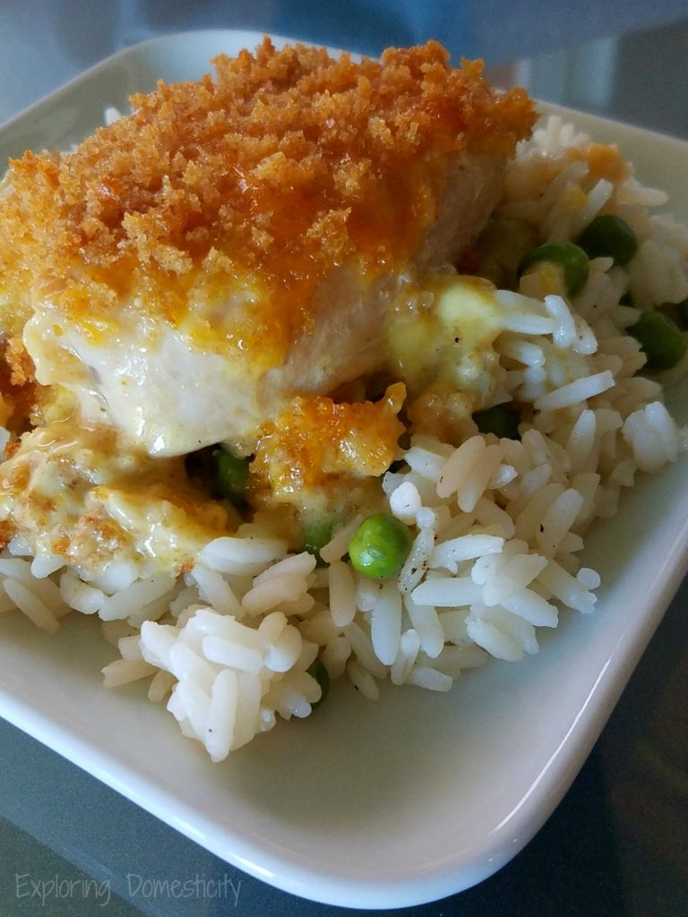 Chicken Artichoke Casserole with Rice and Peas