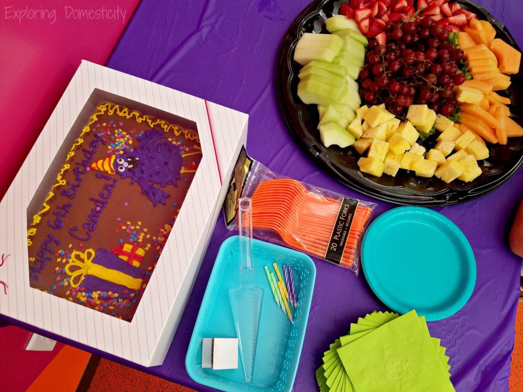 Minnesota Children's Museum Birthday Party - cake, food, plates, and utensils