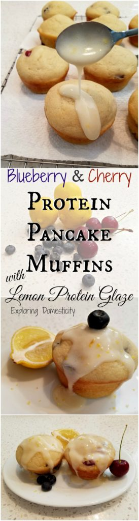 Blueberry & Cherry Protein Pancake Muffins with Lemon Protein Glaze - Exploring Domesticity