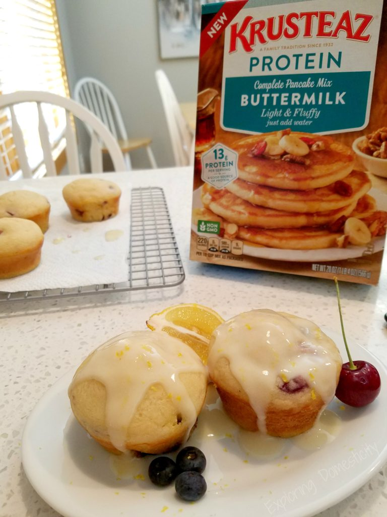Blueberry and Cherry Protein Pancake Muffins and Lemon Protein Glaze with Krusteaz Protein Buttermilk Pancake mix
