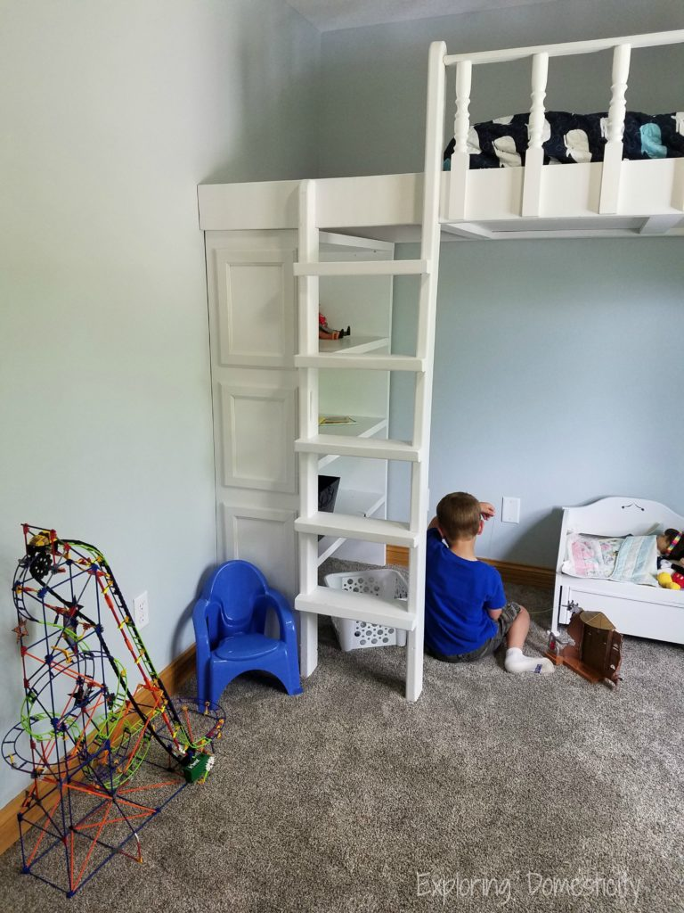 Play Room Loft Bed - organized play space with lofted bed