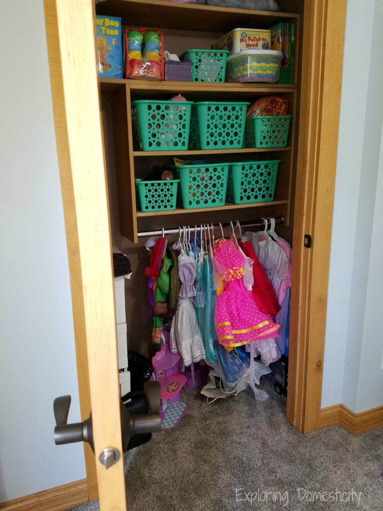 Play Room Storage - shelves, bins, and dress up