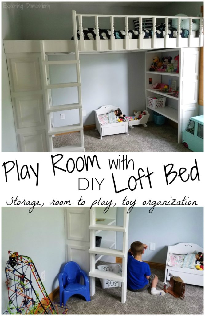 Play Room with DIY Loft Bed - storage, room to play, toy organization