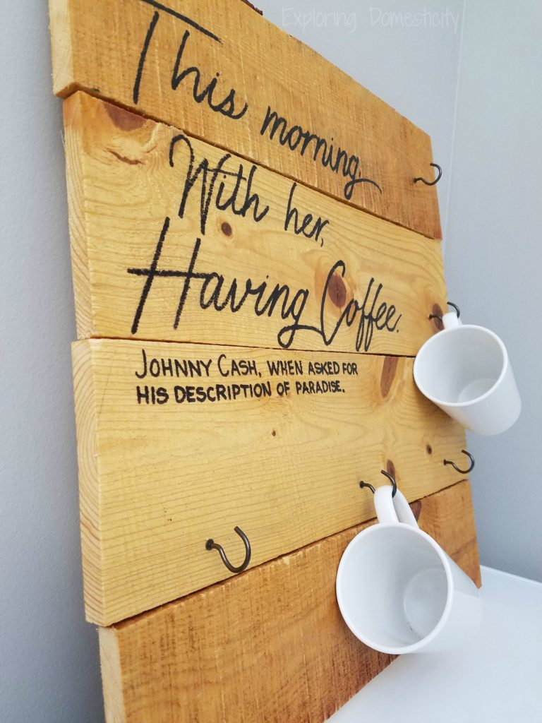 Coffee Cup Holder with Johnny Cash coffee quote