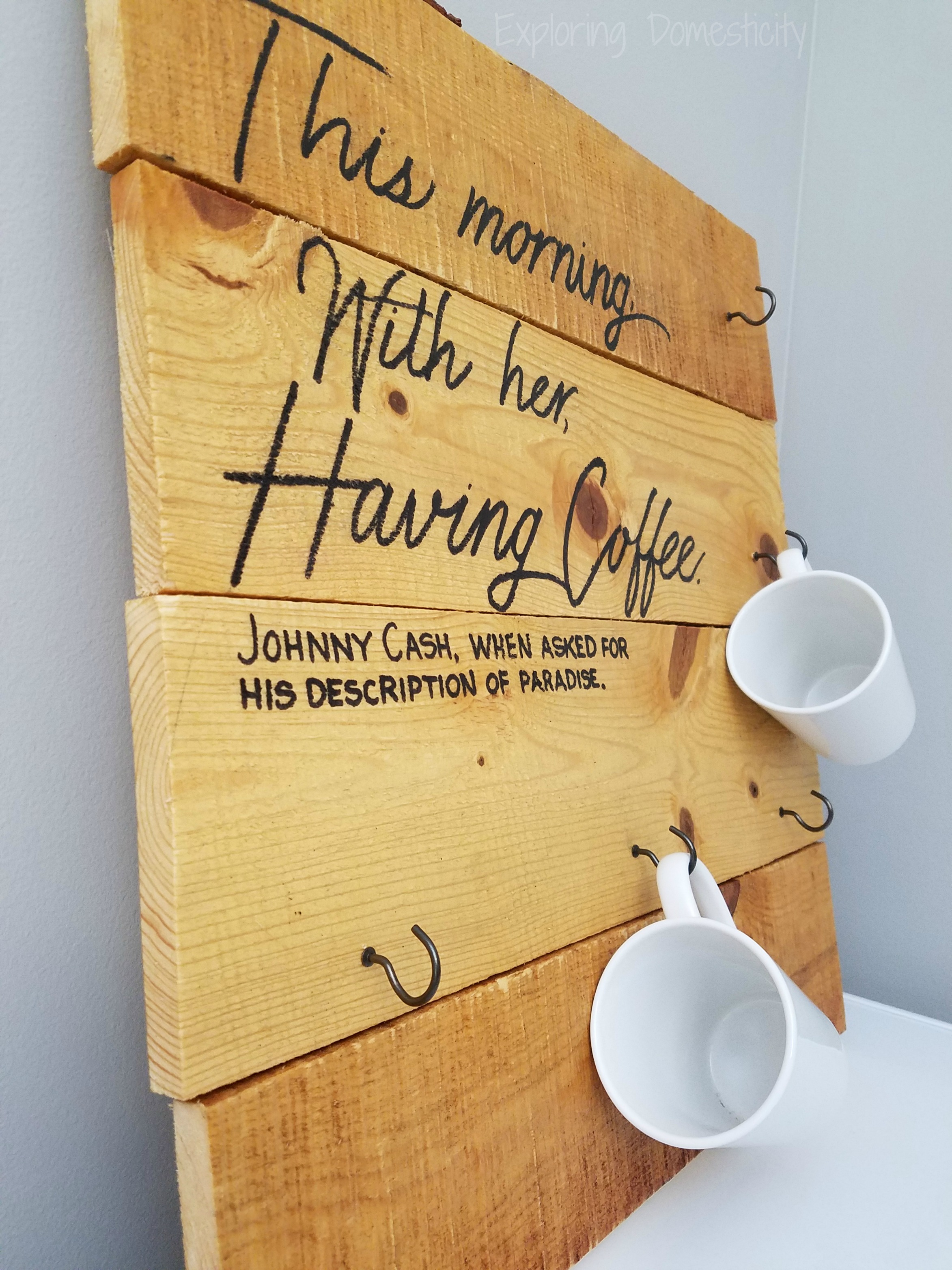 Coffee Mug Holder Diy Pallet Project And Personalized Mugs