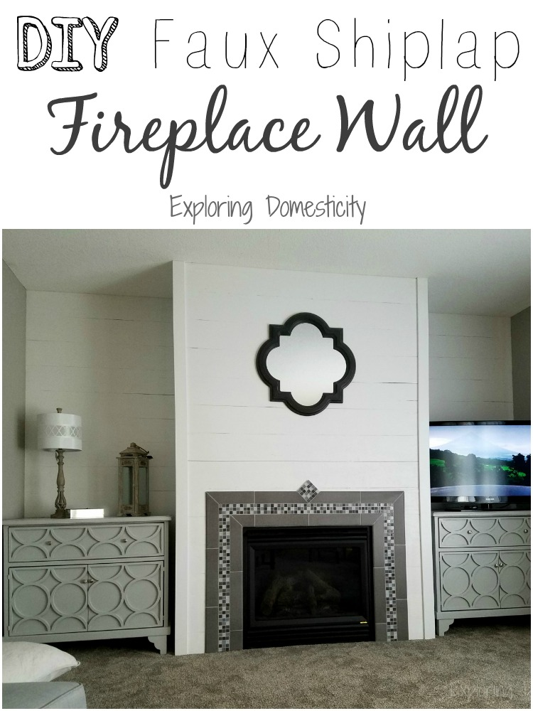 DIY Faux Shiplap Fireplace Wall - Living room reveal