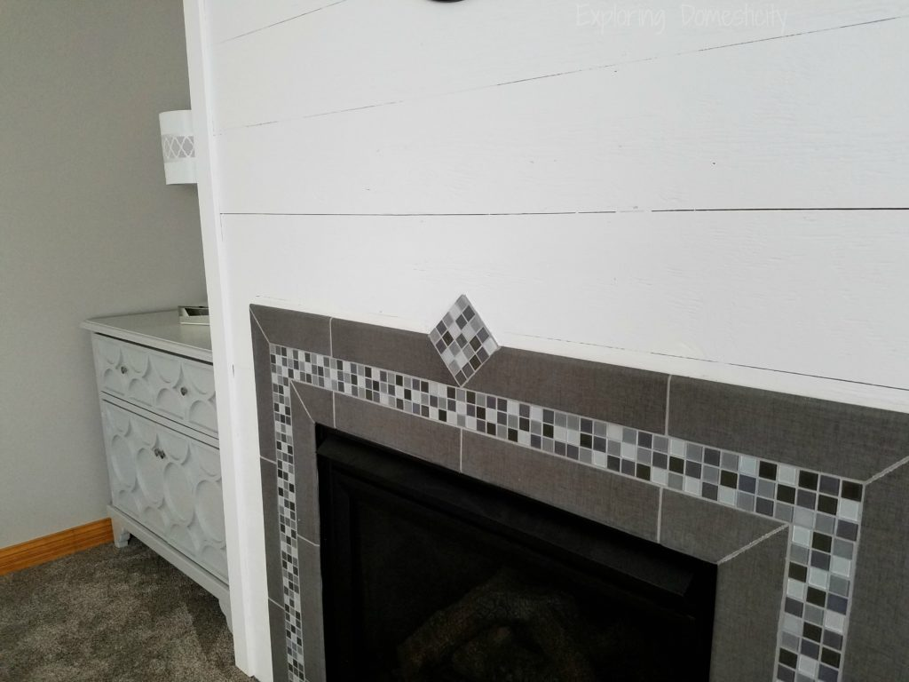 DIY Faux Shiplap Fireplace Wall and Tile
