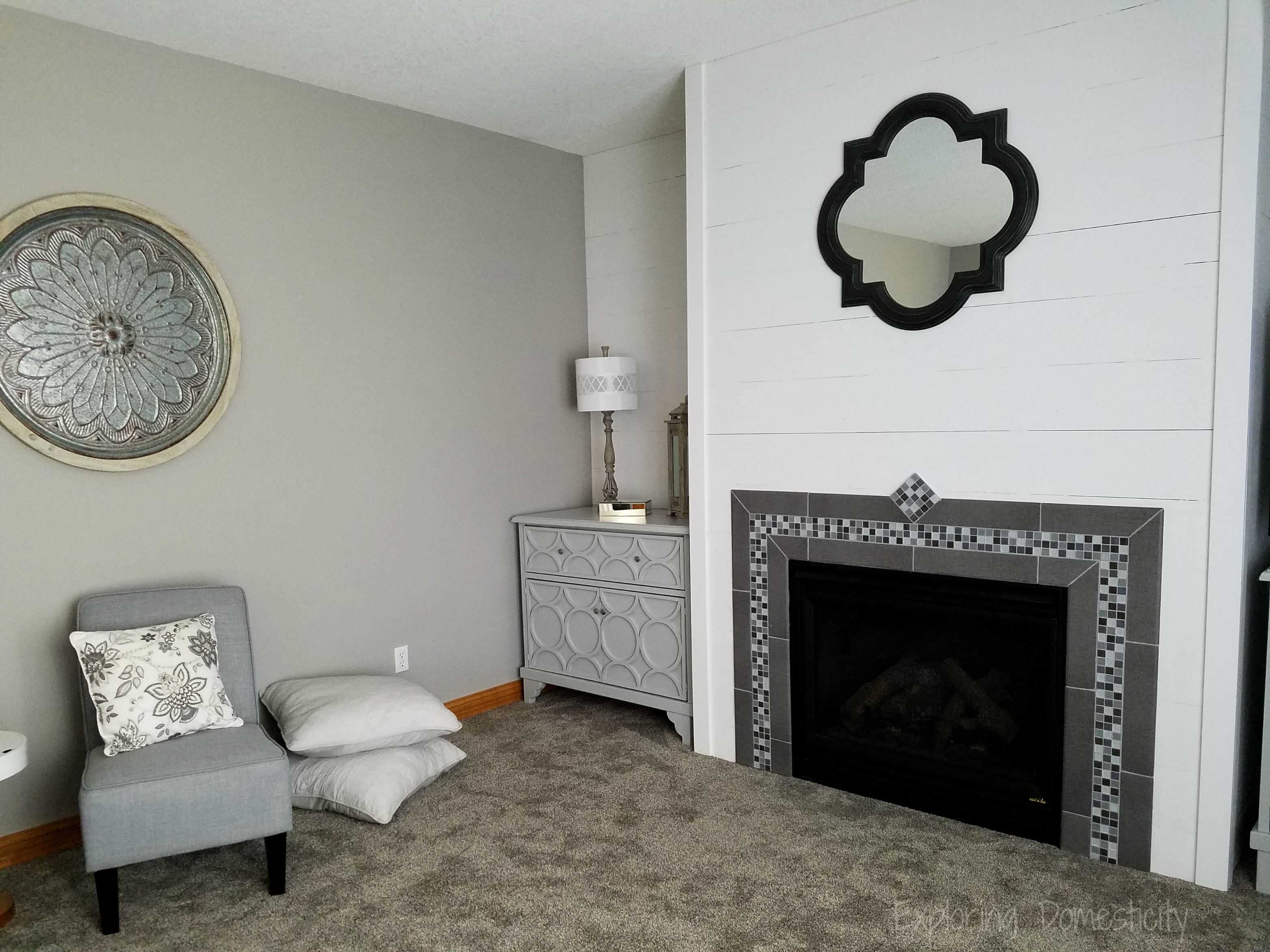 Diy faux shiplap fireplace wall exploring domesticity - Living room with fireplace ...