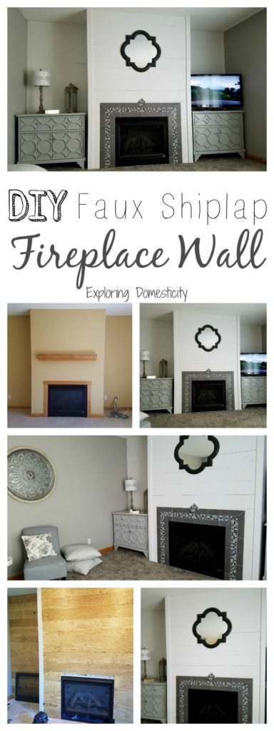 DIY Faux Shiplap Fireplace Wall and living room before and after