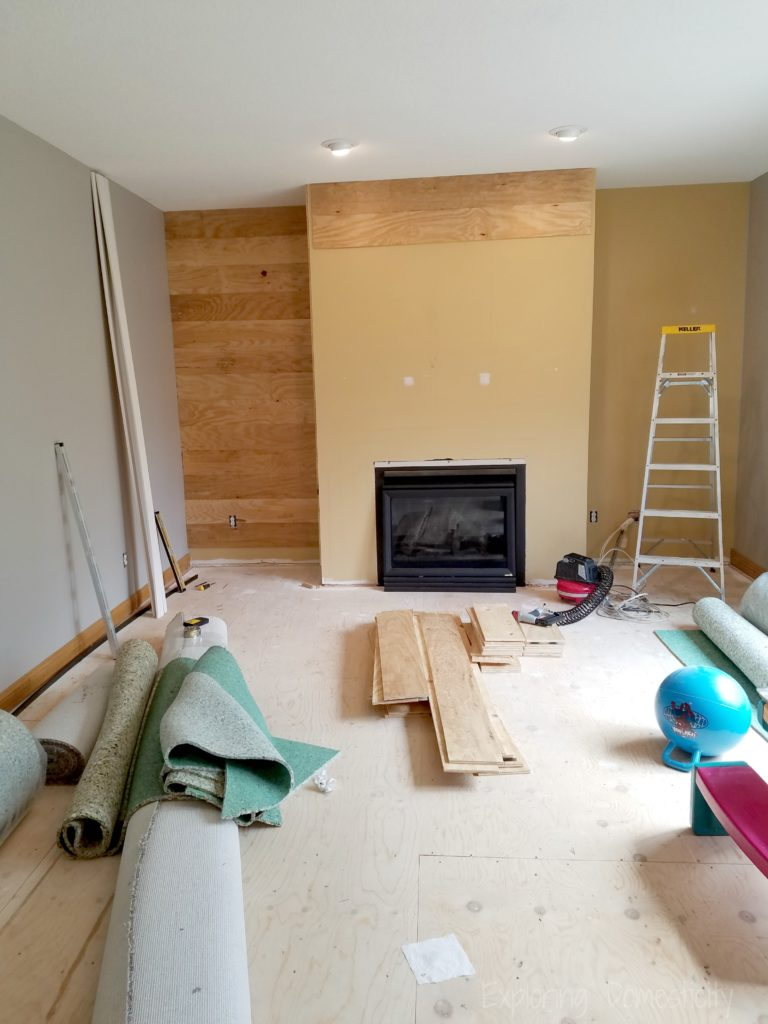 DIY Faux Shiplap Fireplace Wall in progress