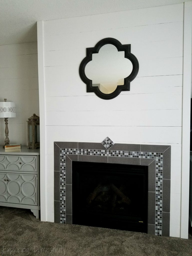 DIY Faux Shiplap Wall and Tile Fireplace Surround with custom dressers