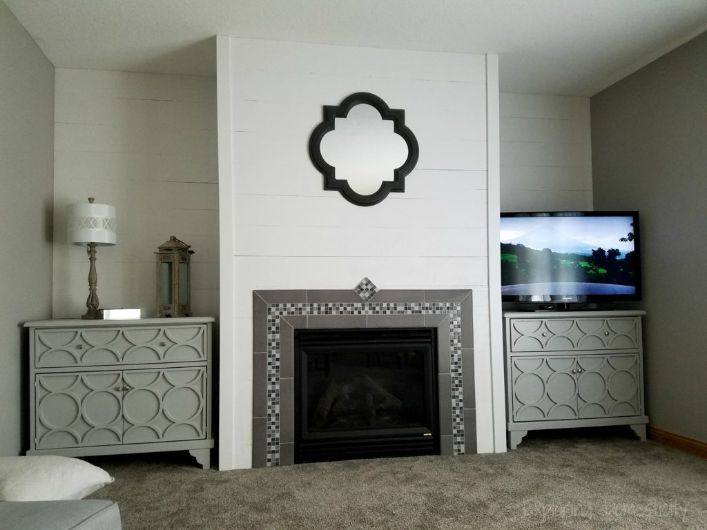 DIY Faux Shiplap Wall with tile fireplace surround and custom dressers
