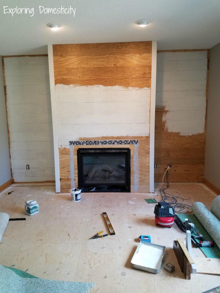 Faux Shiplap Fireplace