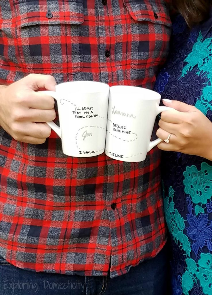 Personalized Couples Coffee Cups with Johnny Cash Walk the Line quote