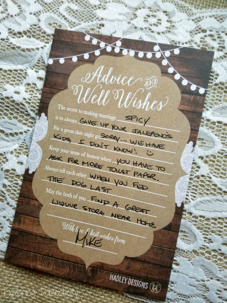 Couples Wedding Shower Best Wishes Card