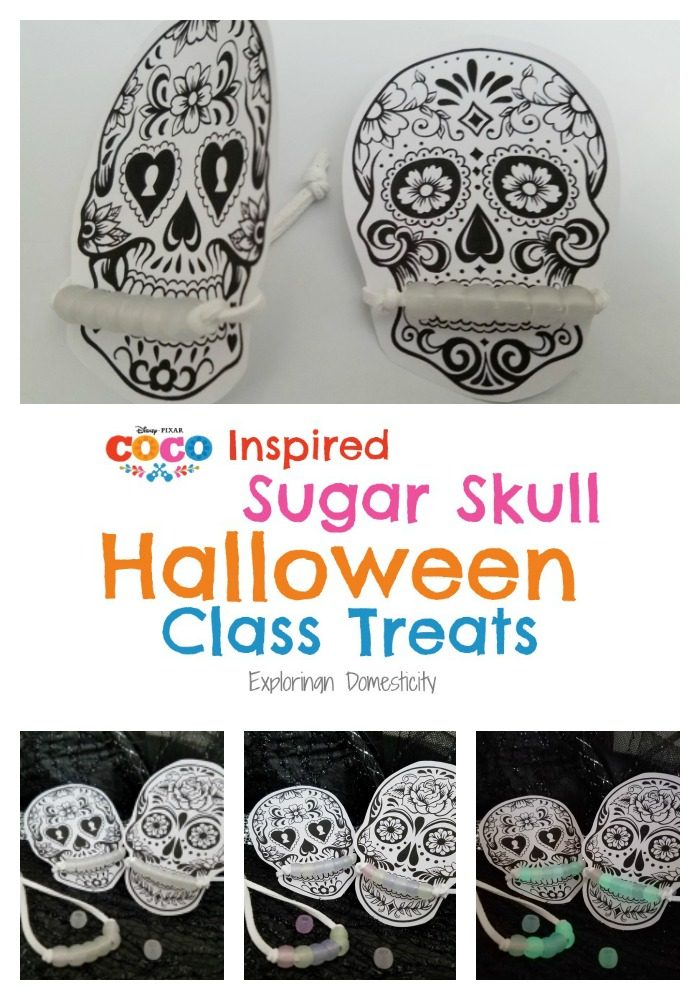 Disney Pixar Coco Inspired Sugar Skull Halloween Class Treats with color-changing bracelet