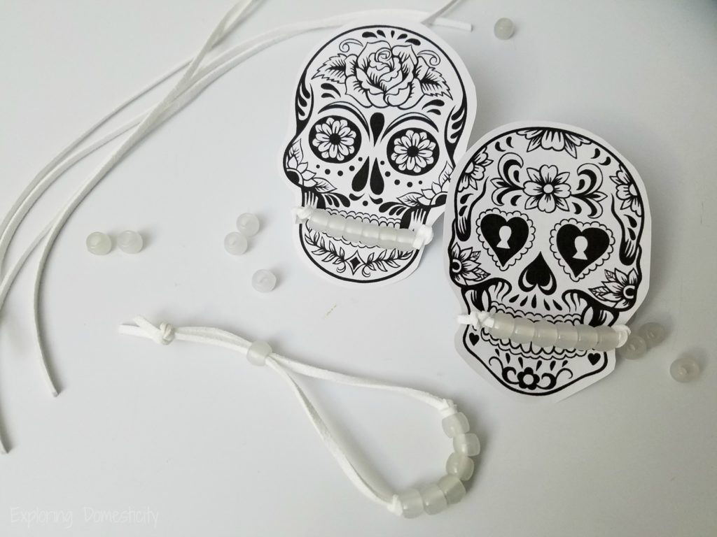 Disney's Coco Inspired Sugar Skull Halloween Class Treat - white bracelets before changing color