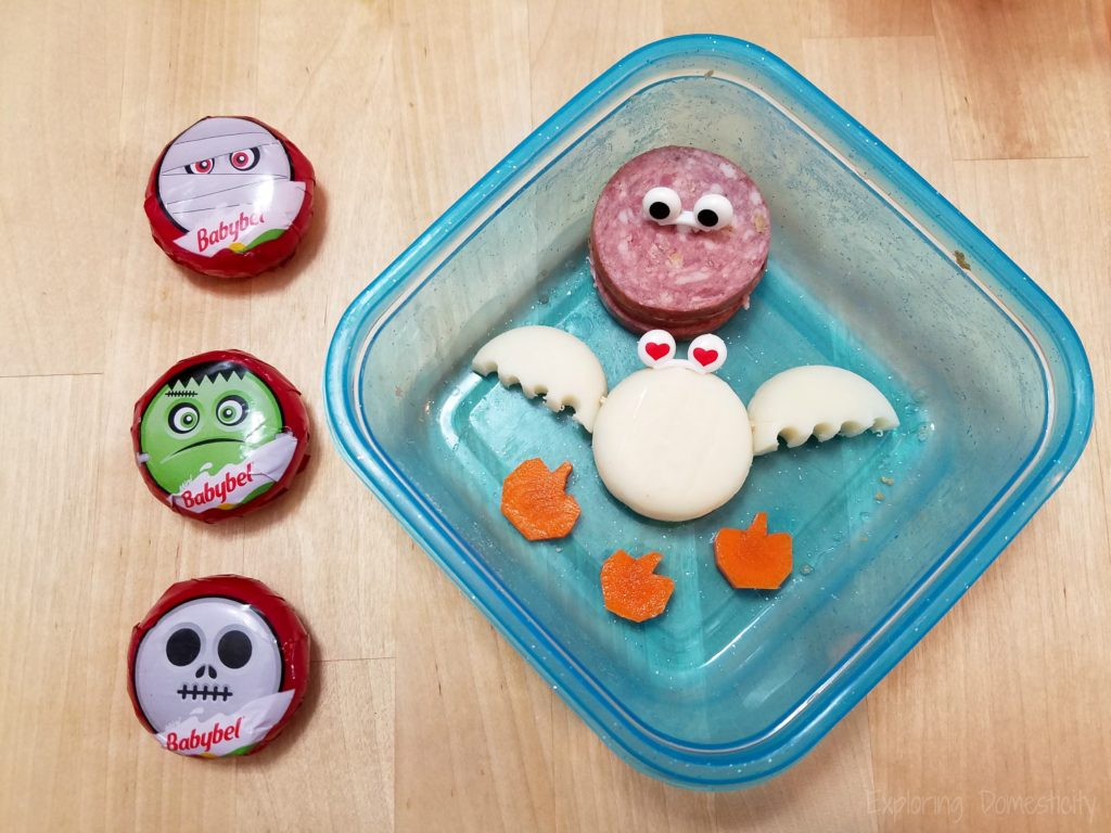 Easy Halloween Snack - Halloween Mini Babybel Cheese Bat and carrot pumpkins