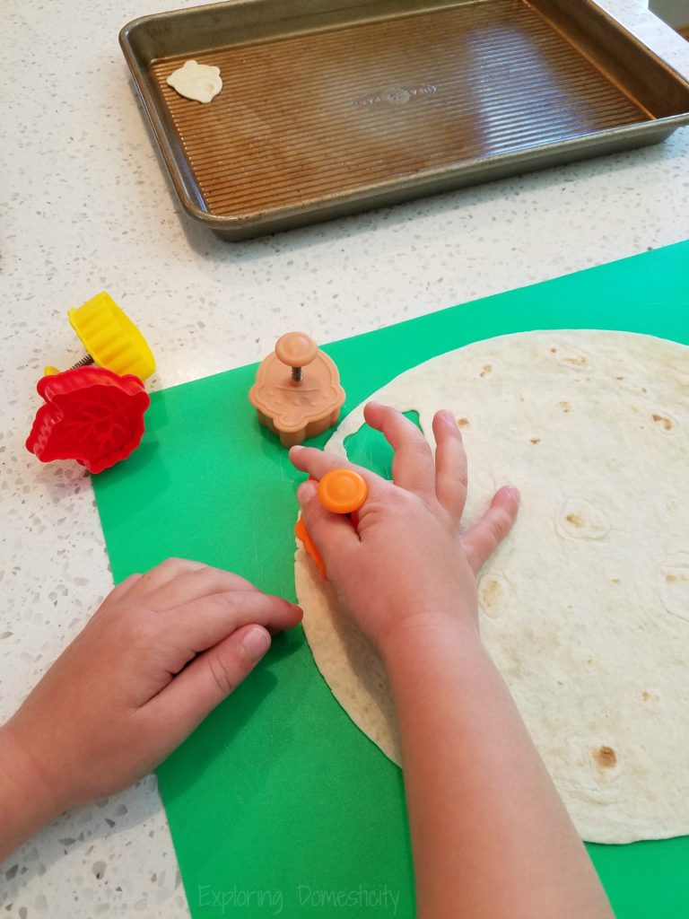 Fall Pumpkin Muffins with Cinnamon Sugar Leaves - making cutouts