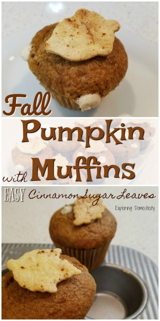 Fall Pumpkin Muffins with EASY Cinnamon Sugar Leaves