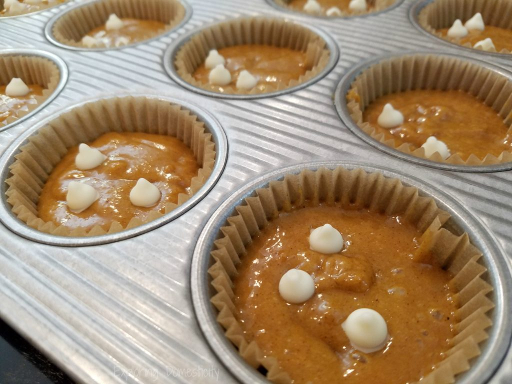 Fall Pumpkin Muffins with homemade almond bark chips